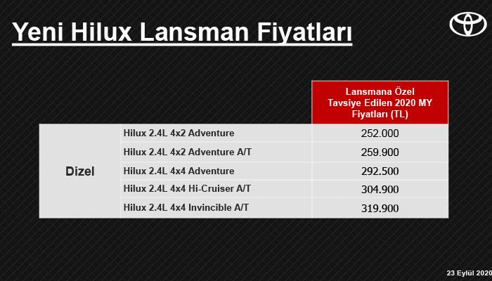 Yeni Hilux fiyat listesi